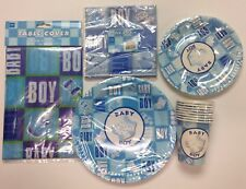 Blue Boy Baby Shower Package, Two Size Plates, Napkins, TBL Cover, Cups- US Sell