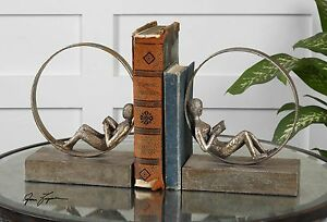 MODERN URBAN ART STYLE AGED SILVER FINISH LOUNGING READER BOOKENDS UTTERMOST
