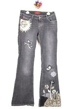 Miss Sixty Womens Vtg Flared Black Jeans Snake faux Leather Patchwork sz 30 AZ20
