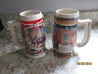 Lot Of 2 Budweiser Beer Steins