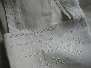 ANTIQUE FRENCH LINEN NIGHTDRESS-STRAPPY NIGHTDRESS-White Embroidery & Monogram