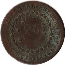 1835 Brazil 20 Reis Large Coin Countermark on 1826 (R) 40 Reis KM#436.1