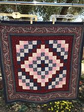 "Cotton Block QUILT 32""x32"" Blue Pink Green Hand Quilted Paisley Border"