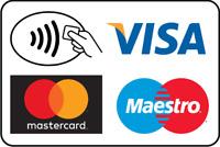 Adesivo carte di credito accettate mm 120x180. Sticker credit cards welcome.