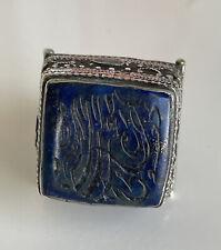 Large Antique Tibetan Silver Carved Lapis Prayer Ring sz 8 28 Gm