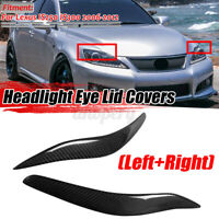2PCS Carbon Fiber Headlight Cover Eyelids Eyebrows For Lexus IS250 IS300
