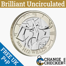 Naked H G HG Wells £2 Two Pounds Coin Brilliant Uncirculated - No Packaging VAT