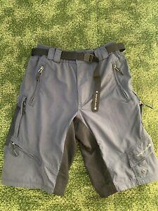 Endura Mens Grey Black Hummvee Baggy Cycling Bike Shorts Size S VGC