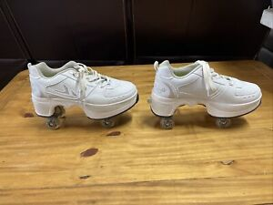 Agloat Adjustable Quad Roller Skates Shoes White Women's 10 EUC