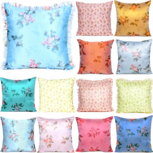 Satin Pillow Case Flower Cushion Cover Home Decor Organza Decorative Pillows