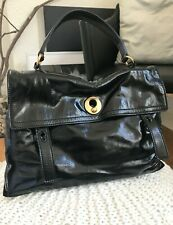 Authentic Yves Saint Laurent Black Patent Leather / Suede Muse Two Bag