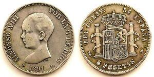 "Falsa de epoca. Alfonso XIII. ""Duro Sevillano"". 5 pesetas 1891*18-81 Plata 24,8g"