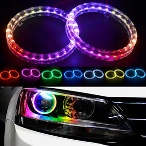 95MM RGB LED Angel Eyes Lights Halo Rings Headlight DRL Phone APP Control Kit