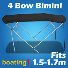 4 Bow 1.5m-1.7m Black Boat Bimini Top Canopy Cover With Rear Poles & Sock