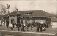 Napanee Indiana~Crowd on Station Platform at New Railroad Depot~1911 RPPC