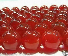 8mm Natural Red Ruby Round Carnelian Gemstone Jade Loose Beads 14.8''