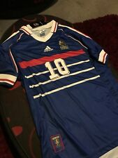 France 1998 Retro Zidane 10 Home Football Shirt Size Large World Cup