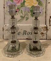 PAIR Vintage Art Deco Crystal Glass Candlestick Vanity Boudoir Lamps