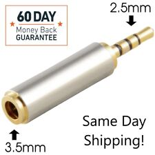 Gold 2.5mm Male to 3.5mm Female Stereo Audio Headphone Jack Adapter Converter