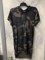 H&M Long Hooded T Shirt Hoodie Casual Sweatshirt Jacket Dark Camouflage Size XS