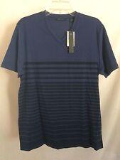 Size M Medium NWT PERRY ELLIS Men's Short Sleeve, V Neck, Blue Striped Shirt
