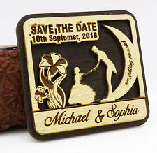 20 Save the Date Wooden Magnet Custom Engraved Wooden Magnet Rustic-31D