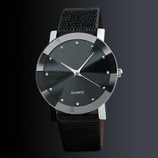 Hot Men's Black Sport Leather Stainless Steel Military Quartz Cool Wrist Watch