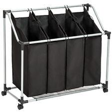 Chariot à linge en cadre métallique avec 4 sacs panier sur 4 roulettes noir