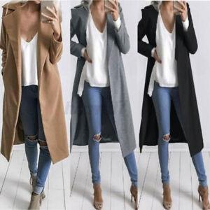 UK Women's Overcoat Woolen Outwear Coat Ladies Winter Long Jacket Plus Size 8-26