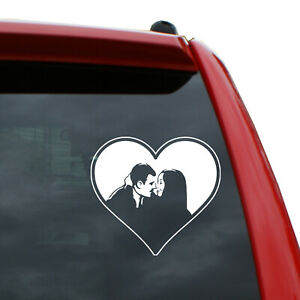 """The Addams Family - Morticia and Gomez in Heart Vinyl Decal 