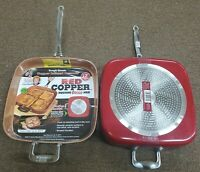 Red Copper Cookware 12-Inch Square Frying Pan Non-Stick Scratch-Resistant Health