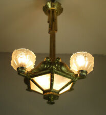 ADORABLE FRENCH ART DECO CHANDELIER 1925- BRONZE - BIRD COUPLES -