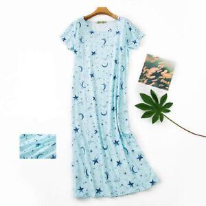 Women's Sleep Shirt Dress Short Sleeve Cotton Nightgown Pajama Oversized Nights