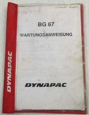 Dynapac BGD67 Doppelglättmaschine Wartungsanweisung Ersatzteilliste Parts List