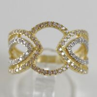 WHITE GOLD RING AND YELLOW 750 18K, BAND, cobblestone ZIRCON, MADE IN ITALY