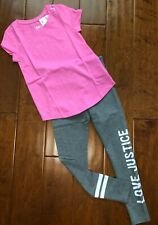 NWT JUSTICE GIRLS 8 OUTFIT~PINK SHORT SLEEVE TEE & GRAY LOGO LEGGINGS