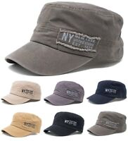 Men's Cotton Army Hat Military Cadet Patrol Baseball Cap New York NY Souvenir