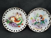 MID CENTURY RETICULATED Set of 2 HAND PAINTED PLATES~SIGNED~Fruit and Flowers