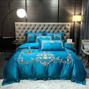 Blue gold, gray, green, red, luxurious embroidered bedding set satin silk cotton