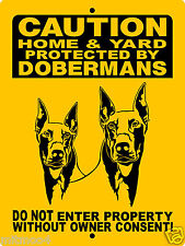 "DOBERMAN PINSCHER DOG SIGN,9""x12""  ALUMINUM,SECURITY SIGN, WARNING 2496HYRB"