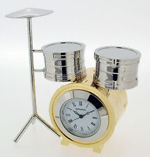 Miniature Novelty Drum Kit Clock in Gold & Chrome PlateFinish