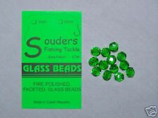 7mm Round, Faceted, Fire Polished Glass Beads - Green