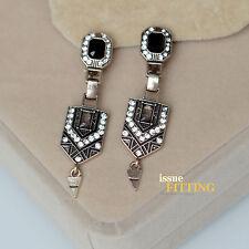 Boucles d'Oreilles Clip Pince Doré Art Deco Pendant Noir Ancien Style Mariage J8