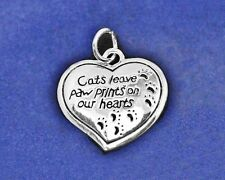 Cat Memorial Charm Sterling Silver Pl Memorial Cats Leave Paw Prints Hearts Paws