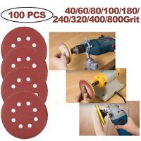 100 Pcs 5 in Orbital Sandpaper Sanding Discs Hook Loop 40 - 800 Assortment Grit
