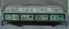 OLD CHINESE CLOISONNE BRONZE BEAST HEAD FLOWER BOX INCENSE BURNER