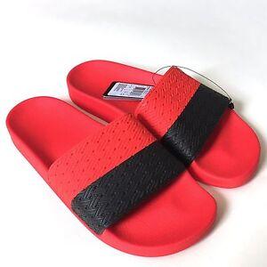 NWT $195 Adidas x RAF SIMONS Red Black Adilette Slides Sandals Flip Flops AUTH