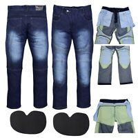 Denim Motorcycle Motorbike Pants Trousers Jeans With Protection Lining Blue