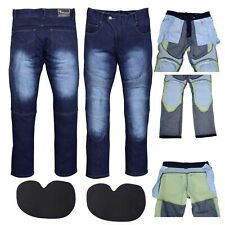 Jeans Moto Pantaloni Jeans Con Protezione Fodera Blu
