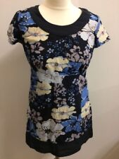 Papaya Ladies Navy Blue Floral Top Tunic Cotton Size 10 Embellished Tie Belt